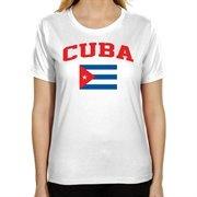 Cuba Ladies Flag Classic Fit T-Shirt - White