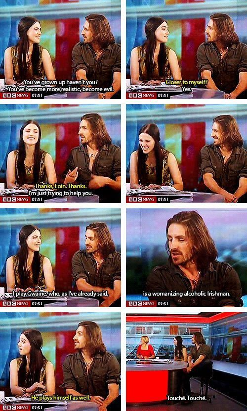He plays himself as well. Katie McGrath and Eoin Macken, from BBC Merlin.