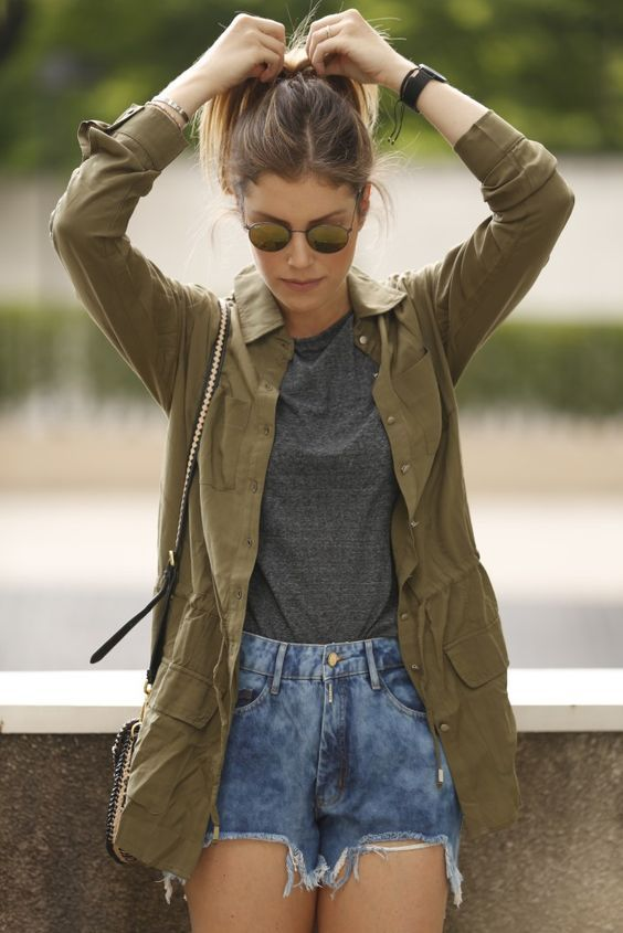 Street style   Khaki shirt over grey t-shirt and a pair of shorts