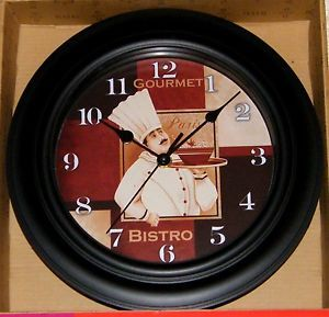 gourmet bistro wall clock | Details about French FAT CHEF Gourmet Paris Bistro Kitchen Decor Wall ...