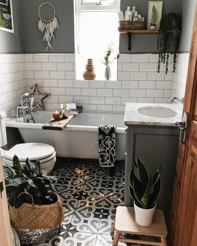 Small Boho Bathroom Design With A Mosaic Tile Floor Boho Bathroom Bathroom Design Small Small Bathroom Decor