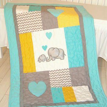 Baby blanket, elephant quilt bedding, aqua yellow gray nursery decoration