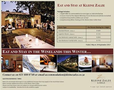 Kleine Zalze Lodge Specials, May 2013