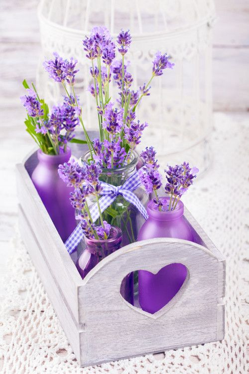 A Centerpiece of Lavender in jars.