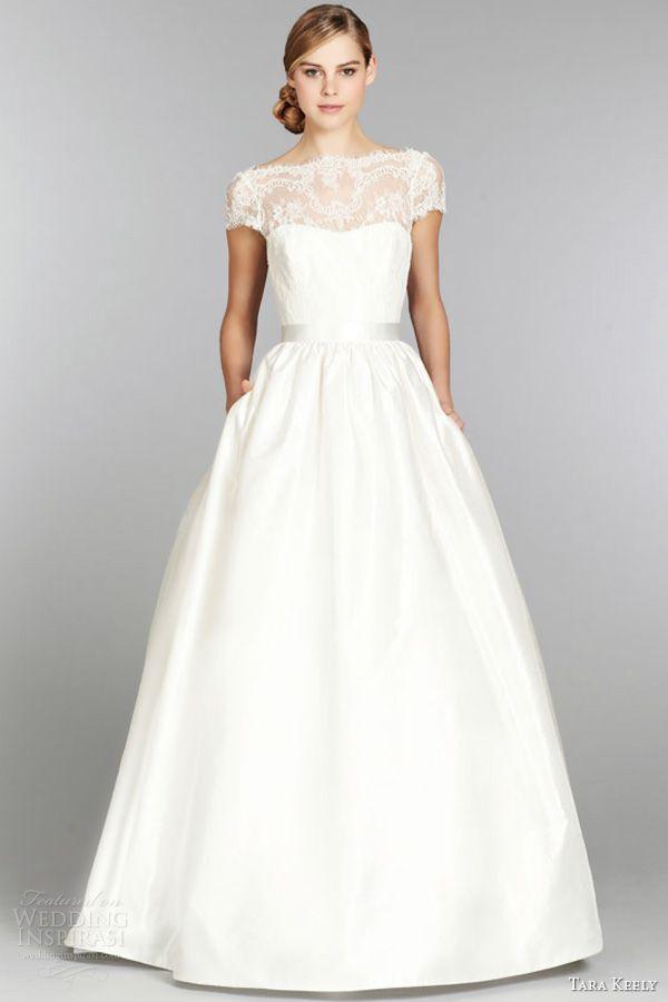 tara keely fall 2013 short cap sleeve ball gown wedding dress style 2357 lace illusion bateau neck v back full sweep train
