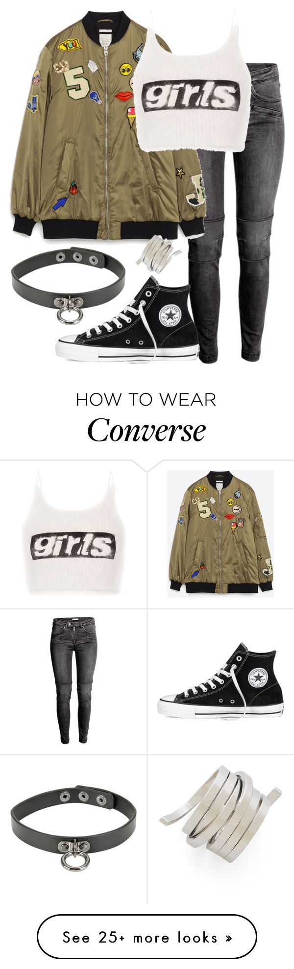 """black converse"" by bekahtee on Polyvore featuring Zara, Alexander Wang, Converse and BCBGMAXAZRIA"