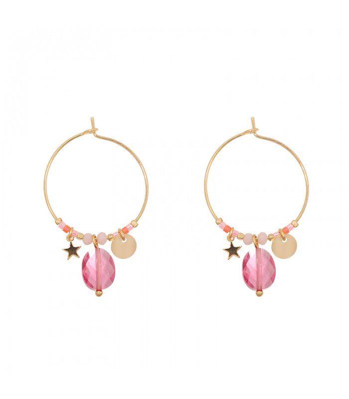 Goudkleurige oorringen met roze bedels|Trendy gold plated oorbellen koop je bij Yehwang | Yehwang fashion en sieraden
