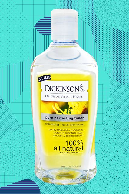 "25 Magical Drugstore Beauty Buys #refinery29    ""Dickinson's Witch Hazel toner has amazing zit-clearing powers — but it's way, way more gentle than other drugstore toners.""Dickinson's Witch Hazel Toner, $5.99, available at Walgreens."