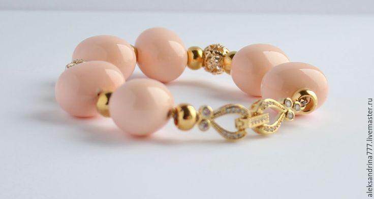 Купить БРАСЛЕТ  ИЗ ЖЕМЧУГА - кремовый, браслет, Браслет ручной работы, браслет из камней