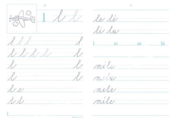 1. sešit obsahuje dvě kartonové přílohy: pomocná linkovaná podložka pro psaní a tabule s tiskacími a psacími písmeny.