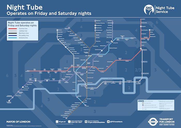 Mappa notturna metro di Londra