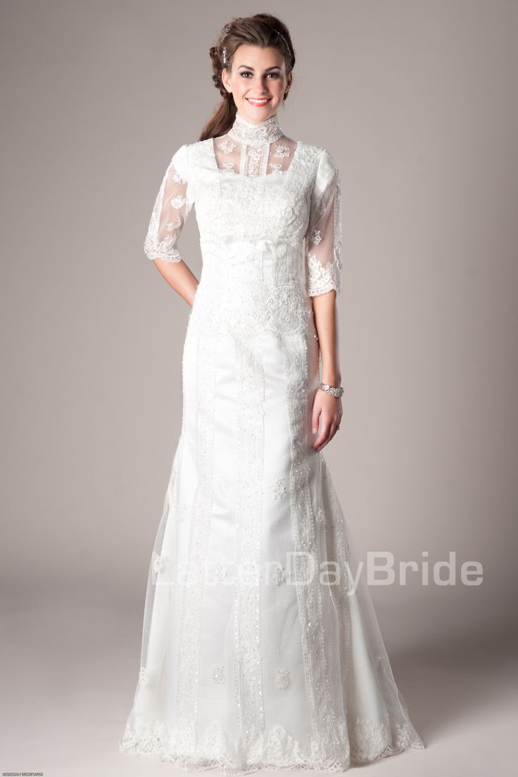 17 best images about lds temple bridal dresses on for Mormon temple wedding dresses
