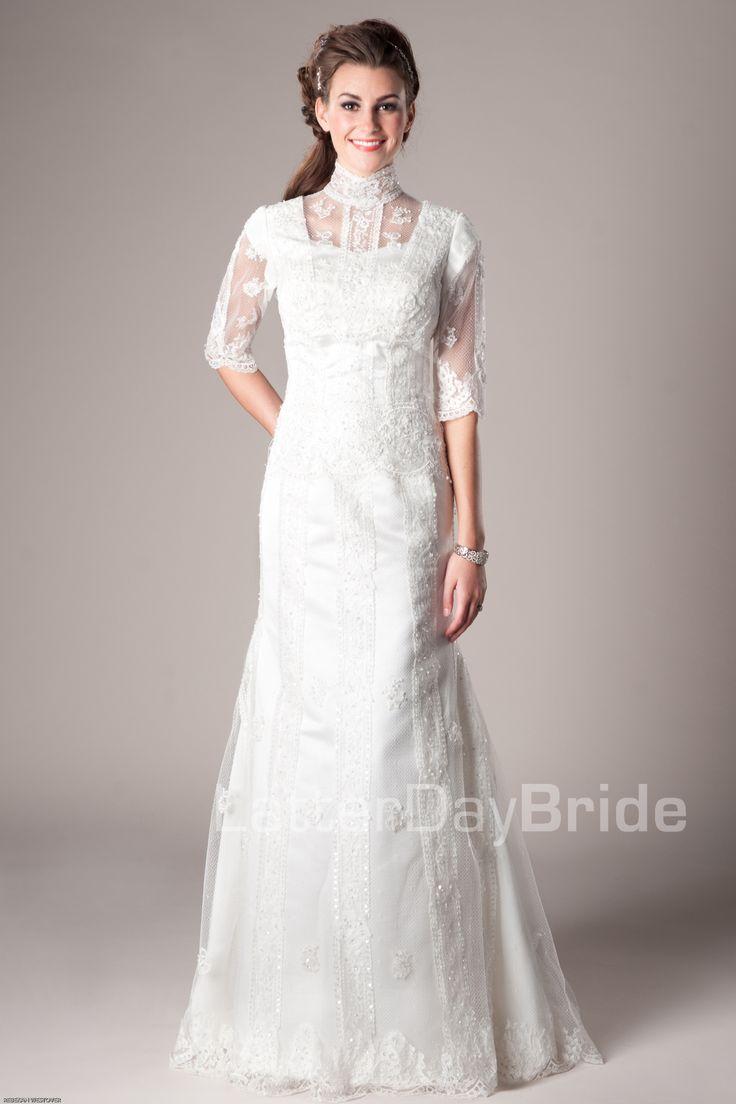 17 best images about lds temple bridal dresses on for Mormon temple wedding dresses