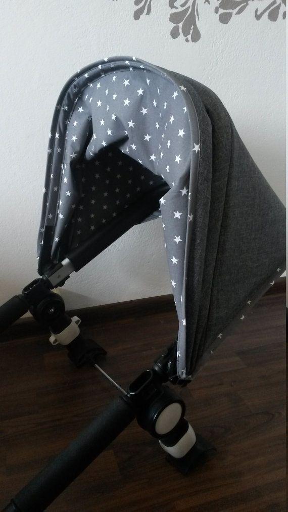 Aangepaste kap voor Bugaboo Cameleon of ezel, zonnescherm voor Orbit Baby G2. Ook voor Babyzen Yoyo;)  De buiten stof - hydrofobic wandelwagen polyester. De voering is katoen. Gelieve te vragen mij vragen:)  Het is mogelijk om de dezelfde kap met elke kleur die je leuk (of een andere print)