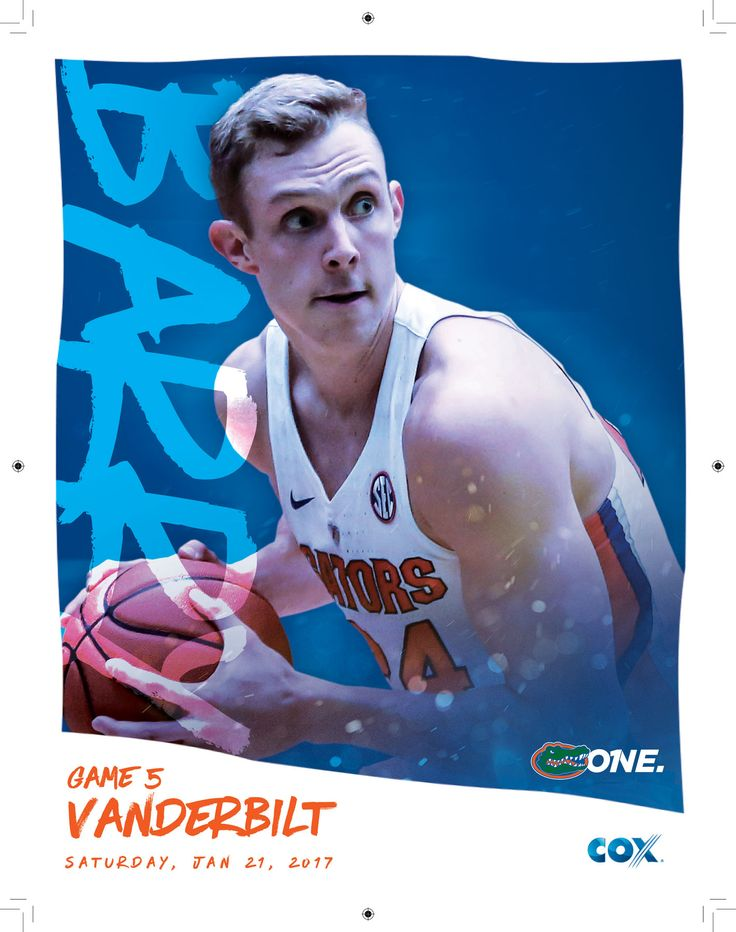 The 2016-17 @floridagators Men's Basketball Roster Card vs. Vanderbilt features Canyon Barry on the cover.