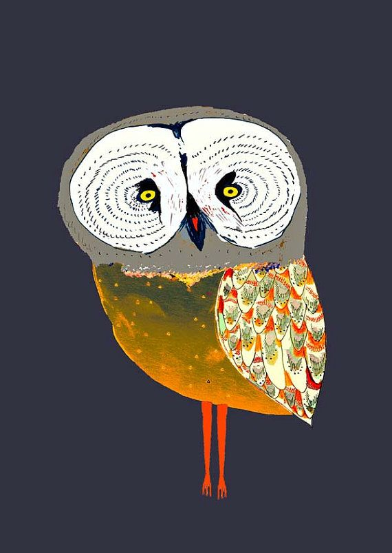 Owl of the Night. home decor - kids wall art - room decor - owl art - children's art prints - illustration print - wall decor - gift ideas.