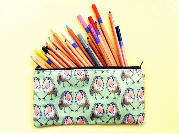 Robin pencil pouch  bird zip case  Christmas robin gift