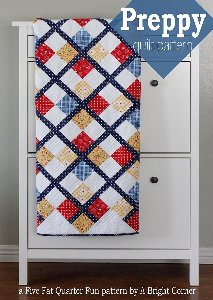 """Preppy - a free quilt pattern by A Bright Corner by Andy-This is one of those quilts that looks more complicated than it actually is! And for those of you who haven't tried making a quilt on point before this would be a great time to try it! Preppy finishes at 50"""" x 60"""", and uses 5 fat quarters and some yardage for the sashing and background"""