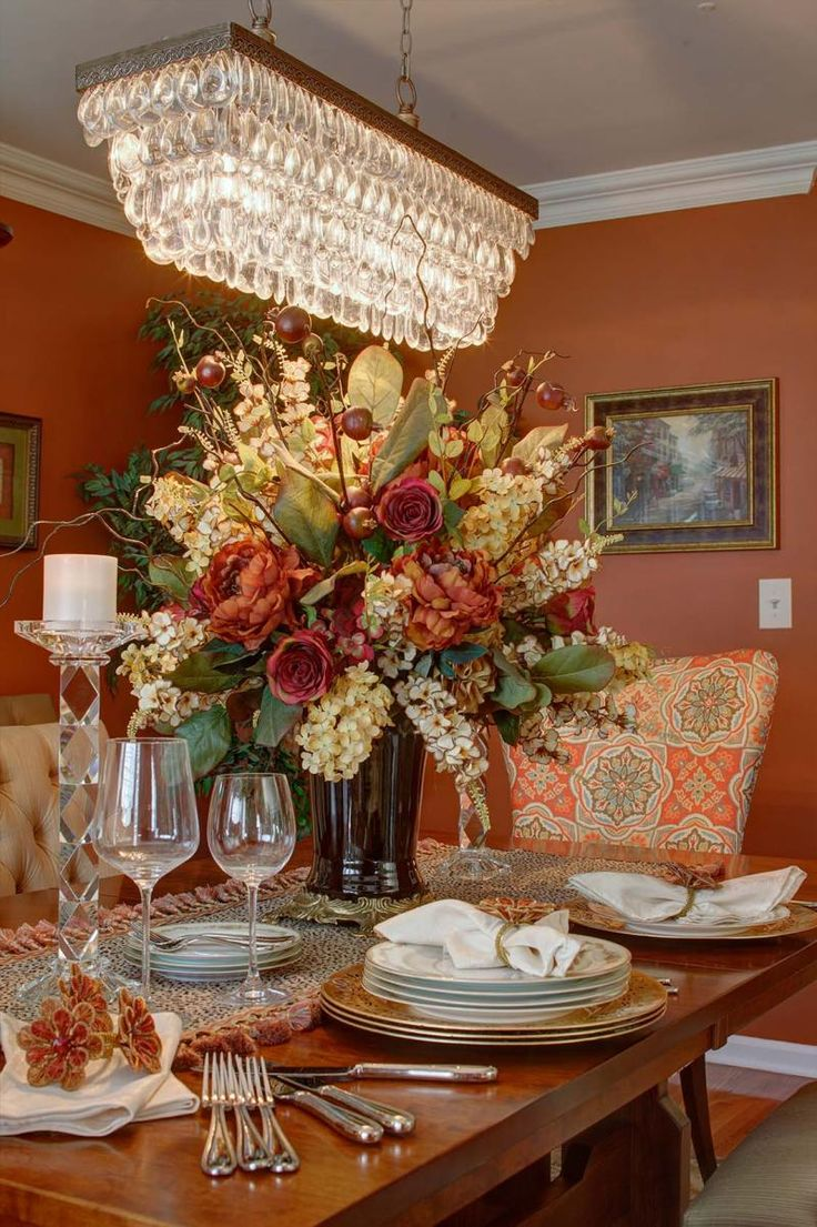 69 dining room table flower arrangements large for Floral centerpieces for dining room tables