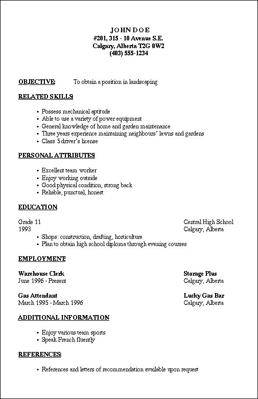format for a job resume
