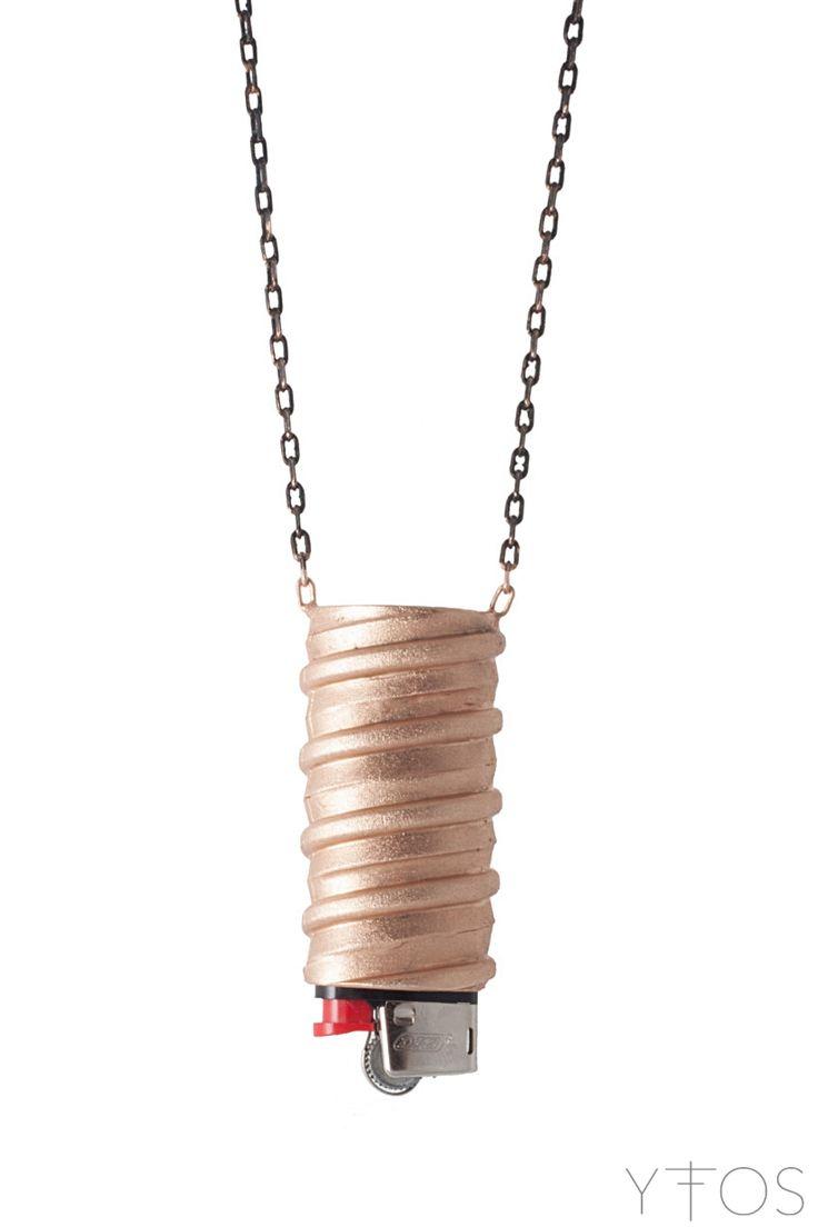 'Light Me Up' Brass Lighter Case Necklace || Shop online at www.yfos.eu