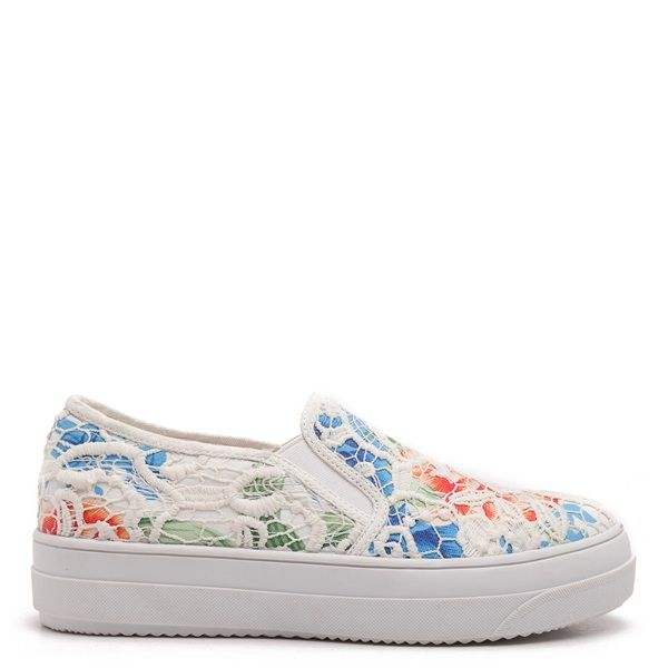 Floral slip-on sneakers, with white lace and white sole.
