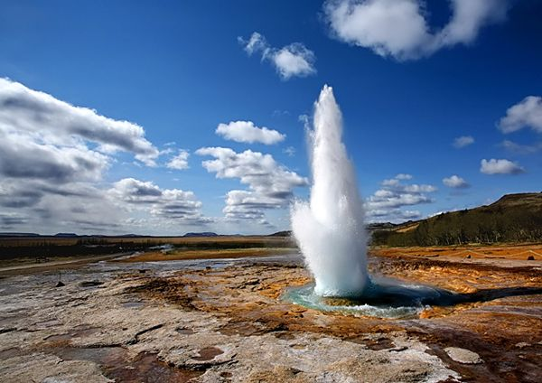 Great Geysir, south coast of Iceland. This site has a good example of a 5-day self driving tour along the south coast.