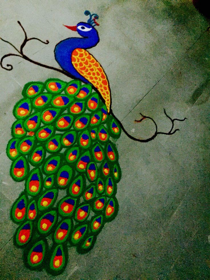 peacock rangoli Beautiful rangoli designs, Rangoli