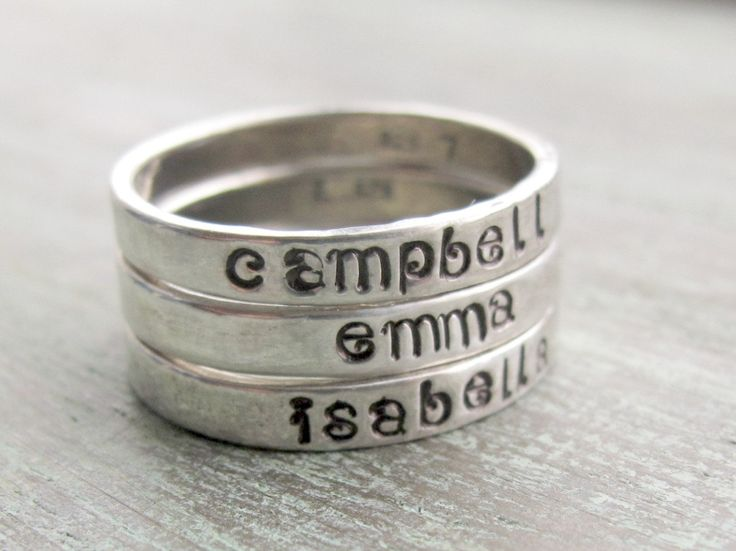 Hand Stamped Personalized Stacking Ring - Sterling Silver - Kids Names Family Mothers Gift. $26.00, via Etsy.