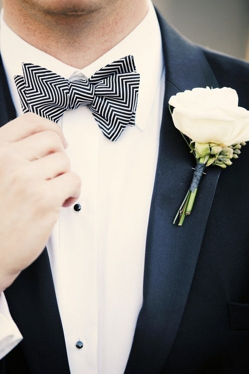 Love the black and white geometric bow tie #groom