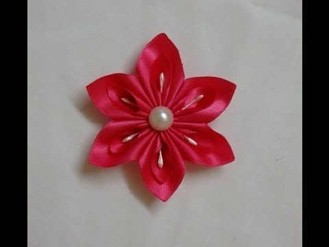 DIY Kanzashi flower, easy ribbon flowers tutorial, how to make,kanzashi flores de cinta - YouTube