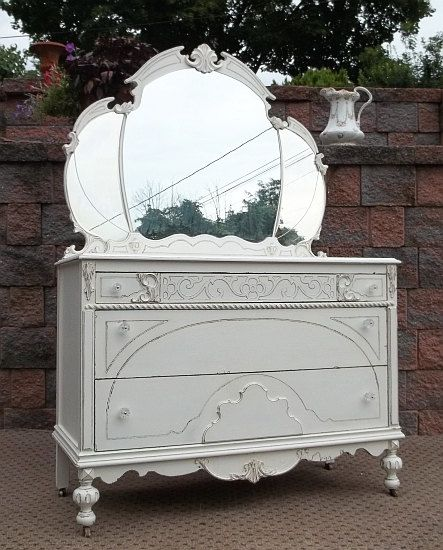 Chic cottage white shabby dresser w tiara mirror bedroom - Shabby chic bedroom sets for sale ...