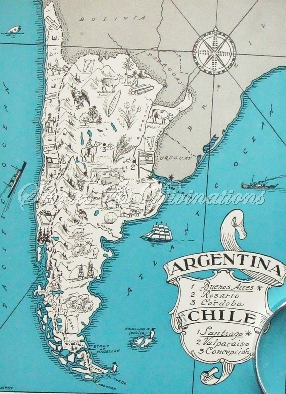 After studying abroad in Buenos Aires, I'm always on the lookout for Argentine prints, which are pretty difficult to find. It's not like Paris where you can find jillions of photos of the Eiffel Tower. But, looky here, I found a neat, vintage-esque map of Argentina and Chile. I may just have to purchase this bad boy. Etsy, Stories Divinations, $24