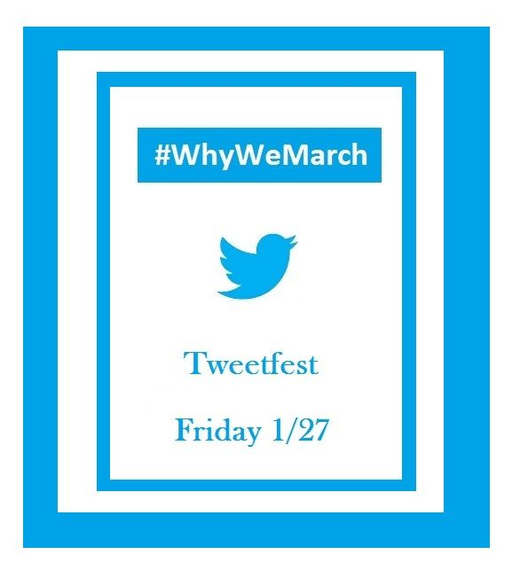 Join #Prolife @marchforlife Tweetfest Friday 1/27!!! Use #WhyWeMarch #MarchforLife hashtags. http://marchforlife.org/show-your-support/