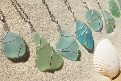Sea glass jewelry ♥. Boston based company, and he takes personal requests!