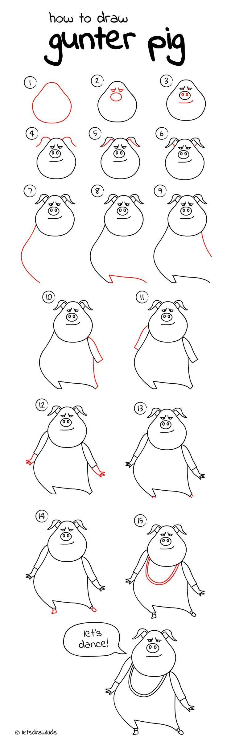 draw easy drawings step drawing cartoon let gunter pig