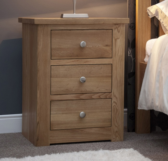 Torino Oak Three Drawer Narrow Bedside Cabinet