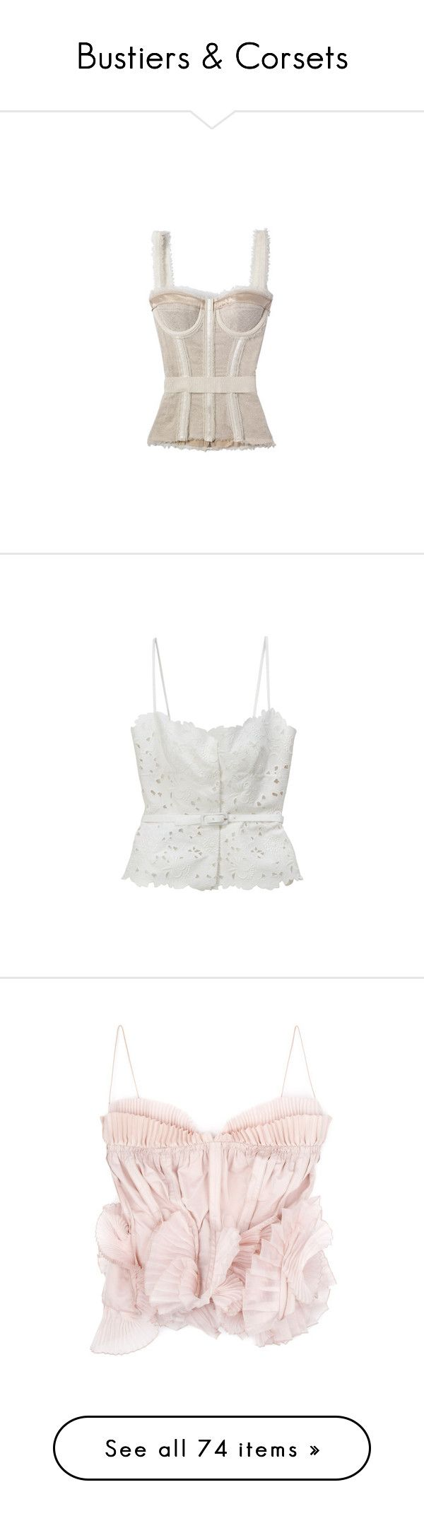 """""""Bustiers & Corsets"""" by sakuragirl ❤ liked on Polyvore featuring tops, corsets, shirts, lingerie, dolce&gabbana, tank tops, valentino, shirts & tops, intimates and lingerie bustier"""