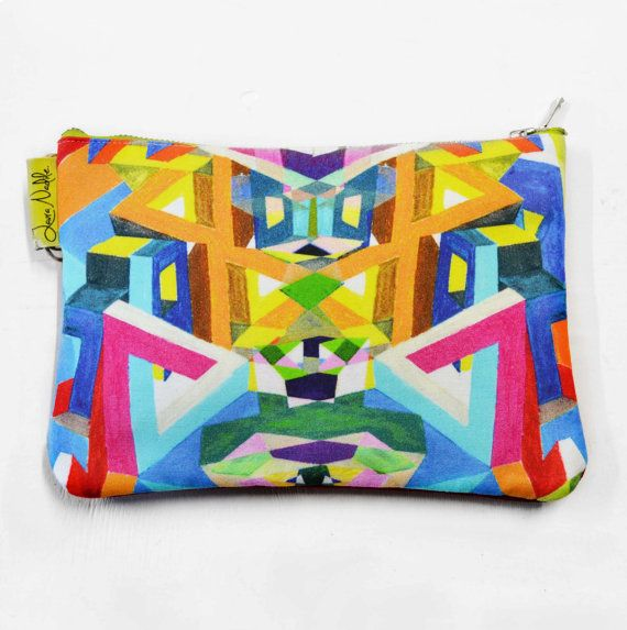 Hand drawn, Digital Print Clutch Geometric with  Red Suede Backing made by Laura Nadile