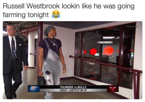 Russell Westbrook with another classic outfit. - http://nbafunnymeme.com/nba-funny-memes/russell-westbrook-with-another-classic-outfit
