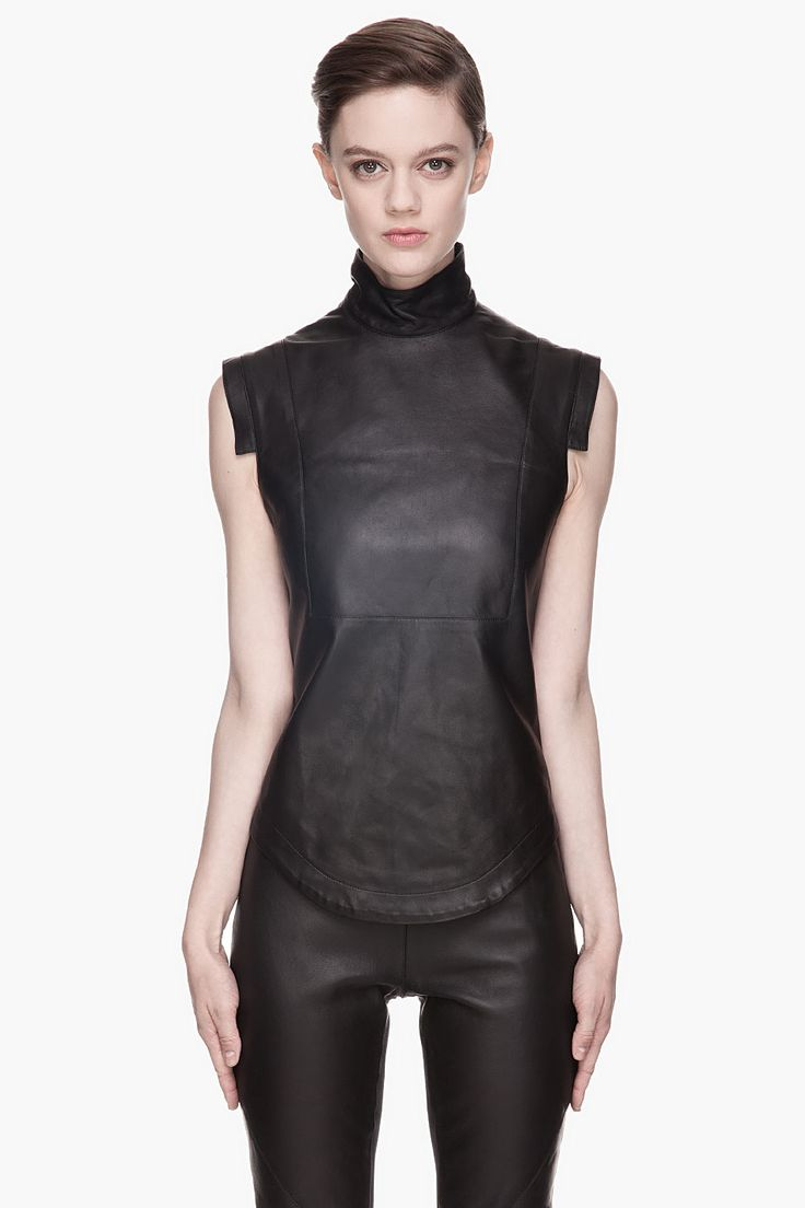 Gareth Pugh Black Buffed Leather Blouse in Black