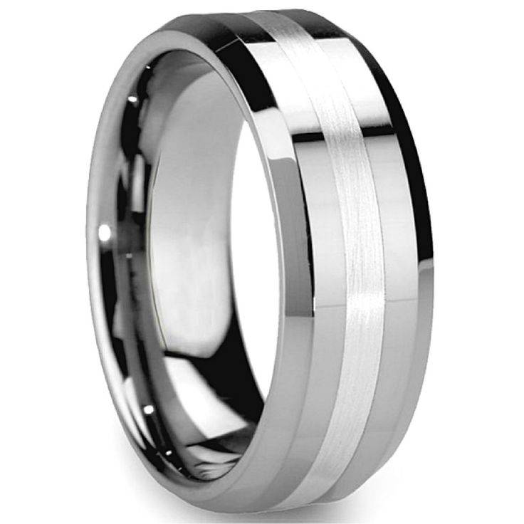 Crafted tapered beveled edges with a striking satin center design. Created with devotional craftsmanship using the finest tungsten carbide available. Finished w