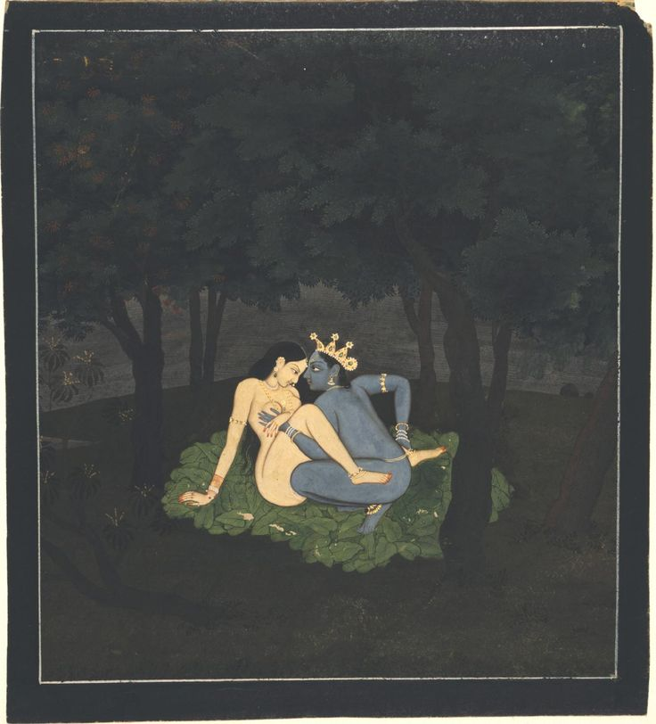 As Passion Took Over Page from a dispersed series of the Gita Govinda (Song of the Dark Lord) of Jayadeva Artist/maker unknown, India Geography: Made in Kangra, Himachal Pradesh, India, Asia or Guler, Himachal Pradesh, India, Asia Date: c. 1775-80 Medium: Opaque watercolor with gold on paper Dimensions: 6 3/4 x 6 1/16 inches (17.1 x 15.4 cm)