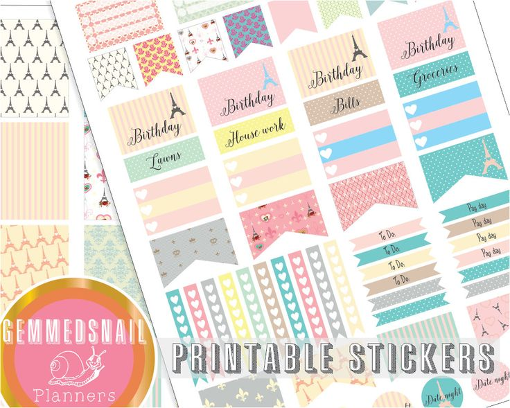 Printable planner stickers, Paris planner stickers printable, fits Erin Condren planners, France planner stickers