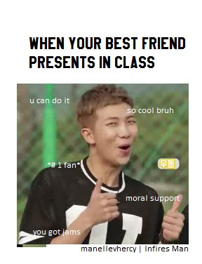 [BTS meme] Rapmon : when your best friend presents in class, you literally rapmon | Just meme, laugh and don't take it seriously.