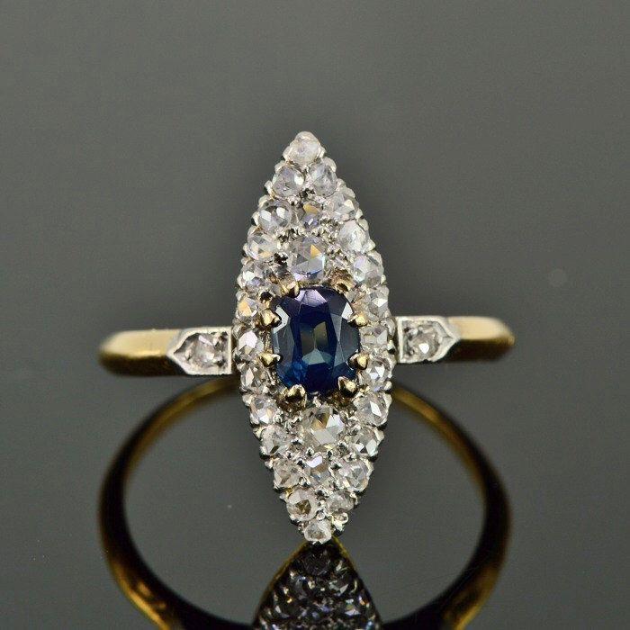 Edwardian navette shape sapphire and diamond marquise ring  so elegant by AntiqueVelvetGloves on Etsy https://www.etsy.com/listing/214488257/edwardian-navette-shape-sapphire-and