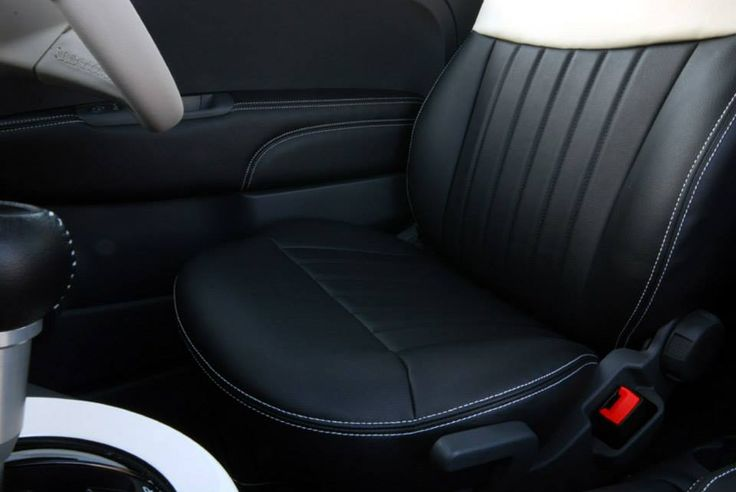 Black And White Leather Seat Cover For Fiat500 Love My