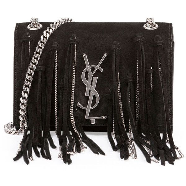 Saint Laurent Monogram Small Suede Shoulder Bag w/Chain Fringe (15.520 DKK) ❤ liked on Polyvore featuring bags, handbags, shoulder bags, black, black fringe purse, black suede handbag, fringe shoulder bag, fringe handbags and black handbags