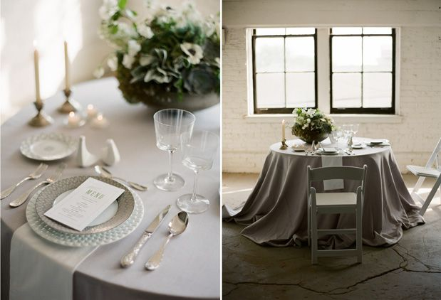 Eric Kelley Photography. Design by Lora Kelley and Mallory Joyce. Vale of Enna flowers. Prairie Street Brewhouse. Anemone. Hydrangea. Sweetpea. Jasmine Vine. Succulent. Spray Rose. Dusty Miller. Green, White, and Grey. Centerpiece. Chicago Wedding.