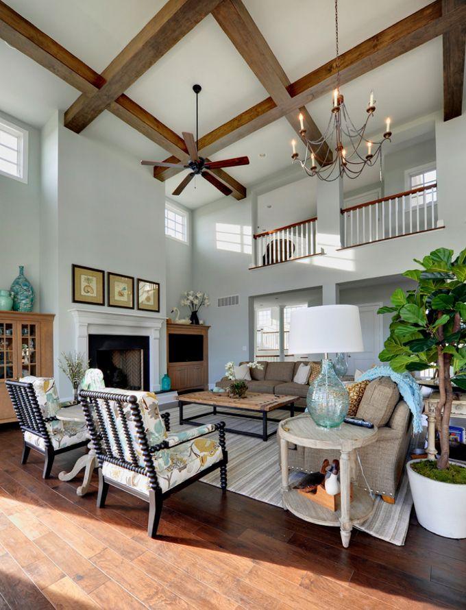 High ceilings with wood beams echelon custom homes - Wood beams in living room ...